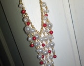 Red & White Cascading Pearl Necklace with Matching Earrings