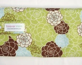 Large Cosmetic Bag / Diaper Clutch - Blue and Green Packed Floral
