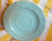Retro Turquoise Saucer with Decorative Swirl Patter
