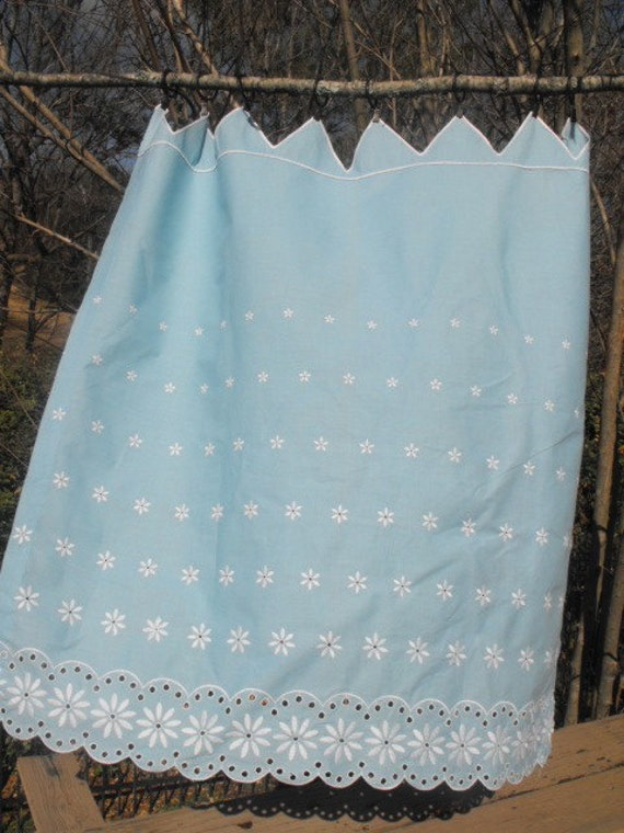 50s Turquoise Cafe Curtains With White Embroidered Trim And