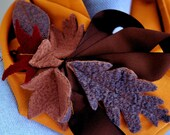 Scarf - Harvest - Felted Autumn Leaves Eternity Scarf