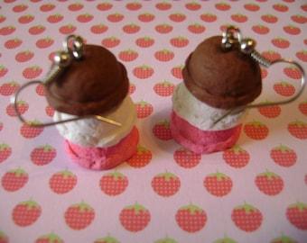Neapolitan Style Ice Cream Scoops Earrings
