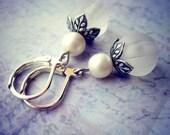 Frost Earrings - White Drop Earrings - Pearl - Silver - Winter