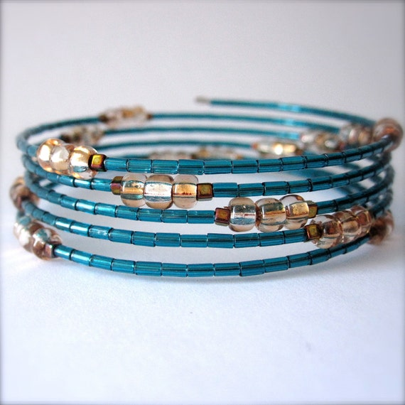 Memory Wire Bracelet, Teal Blue Glass Beads, The Mermaid's Tail