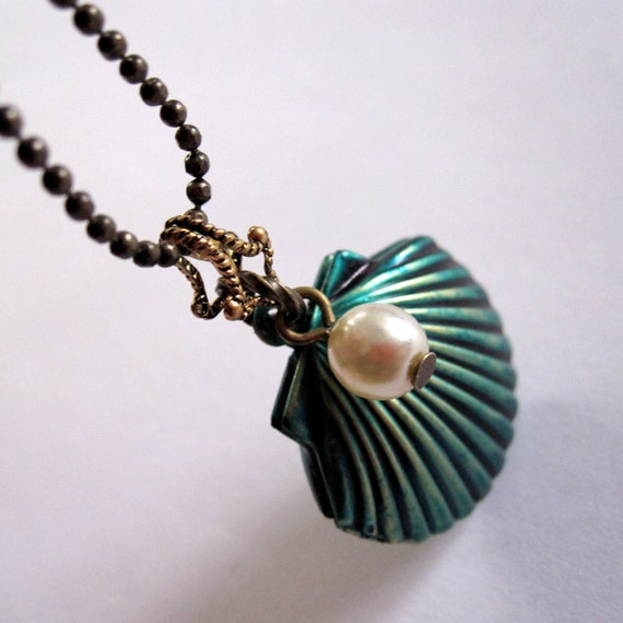 RESERVED for FishCreek (Lucy & Lisa): 2 Shell Locket Necklaces (1 Teal and 1 Purple)