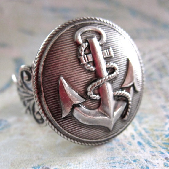 Anchor Ring, Silver, Anchors Aweigh, Vintage Button Ring, MADE TO ORDER