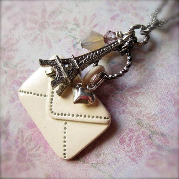 Paris Necklace - Eiffel Tower - Envelope - Letter - Heart - Cluster Necklace - Love Letter