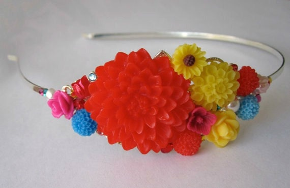 Flower Headband - Red - Yellow - Blue - Pink - Bridal Headband - Colorful - Bouquet - Silver - Summer