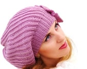 Soft long pink beret,  knit oversized , slouch warm hat  with flower