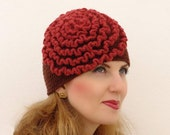 Crochet Beanie, Oversized Hat,  youth  adult, Brown, Terracotta ruffles