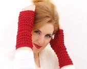 Crochet fingerless gloves, Mittens, Arm Warmers lana Merinos wool Rufous