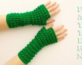 PDF crochet pattern  fingerless gloves, mittens, arm warmers. Knit pattern. English Version.