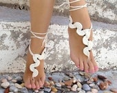 Barefoot sandals, crochet, wavy cream nude shoes, wedding, victorian lace, sexy,  yoga, anklet , beach pool