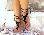Black accessory. Barefoot sandals, crochet wavy sandles, nude shoes, wedding, victorian lace, sexy,  yoga, anklet , beach pool, fashion