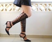 Crochet  laced up leg warmers, black sexy nude shoes, victorian lace, fishnet knee socks, steampunk - Lasunka