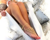 Beige barefoot sandals, Sexy gipsy feet, crochet nude shoes, foot jewelry, wedding, lace, sexy, lolita, yoga, anklet , bellydance, steampunk