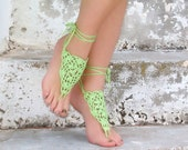 Lime Barefoot Sandals, yellow green Crochet Nude shoes, Foot jewelry, Wedding, Victorian Lace, Sexy, Yoga, Bellydance, Beach Pool, Valentin