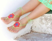 Colorful African Flowers barefoot sandals,  crochet  nude shoes, gipsy, sexy,  yoga, steampunk, beach pool