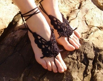 Crochet Butterfly BLACK Barefoot Sandals, Nude shoes, Foot jewelry,Wedding, Black accessory, Sexy, Lolita, Yoga, Anklet , Steampunk