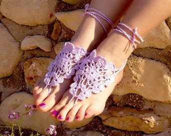 Crochet Lilac Barefoot Sandals, Nude shoes, Foot jewelry,Wedding, Victorian Lace, Sexy, Lolita, Yoga, Anklet , Steampunk, Beach Pool