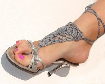 Crochet barefoot sandals, gray nude shoes, wedding, victorian lace, sexy, yoga, anklet, steampunk sandals, beach pool.