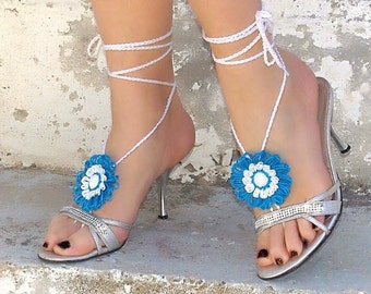 Barefoot sandals turquoise, white flower, nude shoes, foot jewelry, gypsy