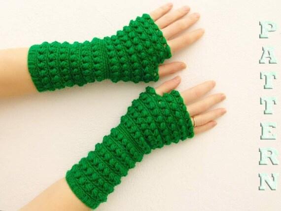 PDF crochet pattern  fingerless gloves, mittens, arm warmers. Knit pattern. English Version.