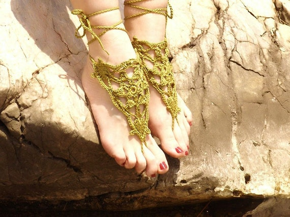 Crochet Olive Barefoot Sandals, Nude shoes,  Foot jewelry,Wedding, Victorian Lace, Sexy, Yoga, Anklet , Bellydance, Steampunk, Beach Pool