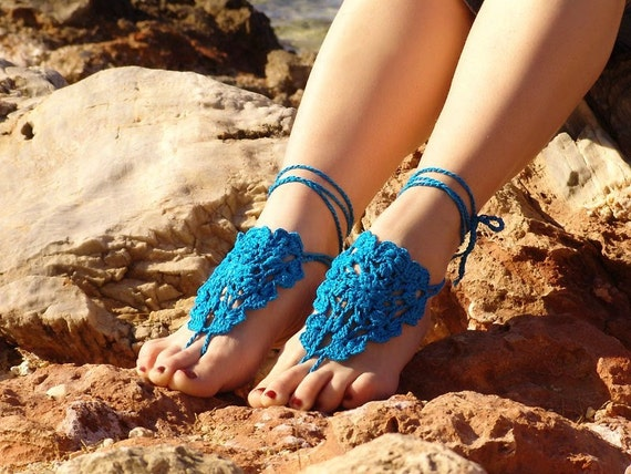 Crochet Turquoise Barefoot Sandals, Nude shoes, Foot jewelry,Wedding, Victorian Lace, Sexy, Lolita, Yoga, Anklet , Steampunk, Beach Pool