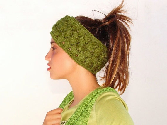 Crochet Versatile Headband, Braided Green Ear Warmer, 2 in 1, Neckwarmer, Crocheted Ski Headband, Green