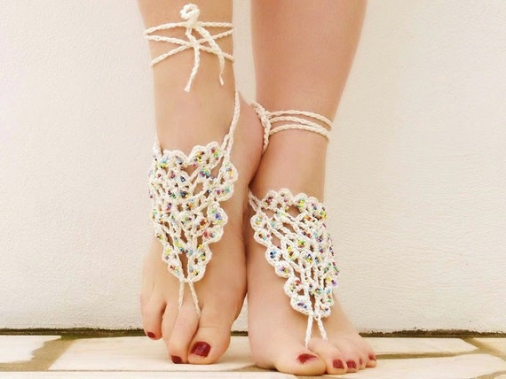 Crochet Beads Creame Barefoot Sandals, Nude shoes, Foot jewelry, Wedding, Victorian Lace, Sexy, Yoga, Steampunk, Beach Pool