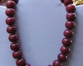 Chunky Red Jade Necklace