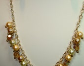 Necklace of South Sea Pearls, Swarovski Crystal, Gold Vermeil & Gold-filled Chain