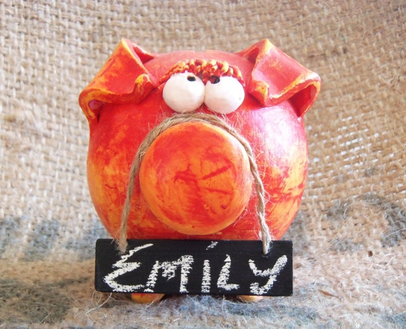 Red Girl Piggy Bank with Chalk Board Tag