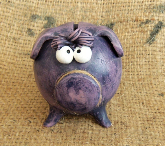 Boy Piggy Bank -- Personalized with Bangs