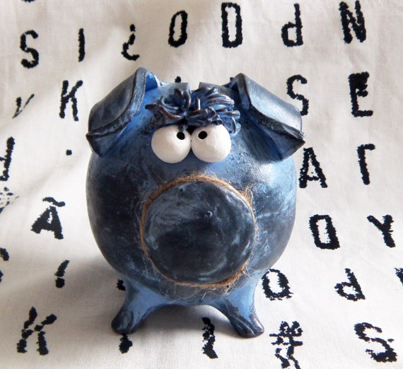 Boy Piggy Bank -- Personalized Light Blue with Bangs