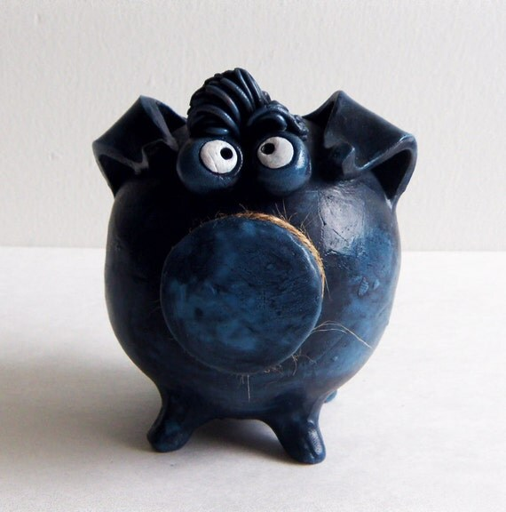 Reserved Listing for Nicole -- Clay Piggy Bank -- Blue Pig with Googly Eyes and Personality -- In a Custom Size
