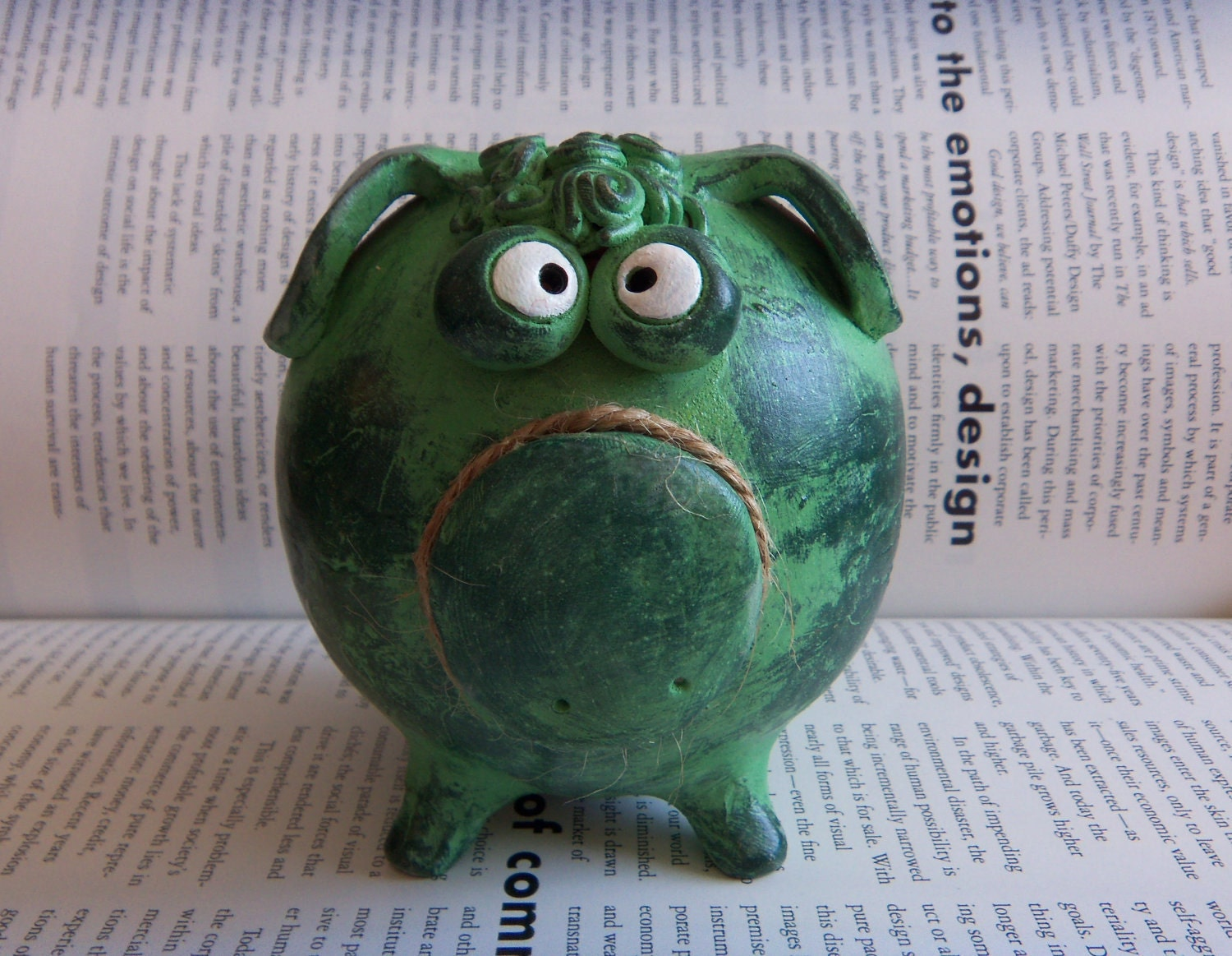 Ceramic piggy bank green personalized for boys or girls - Ceramic piggy banks for boys ...