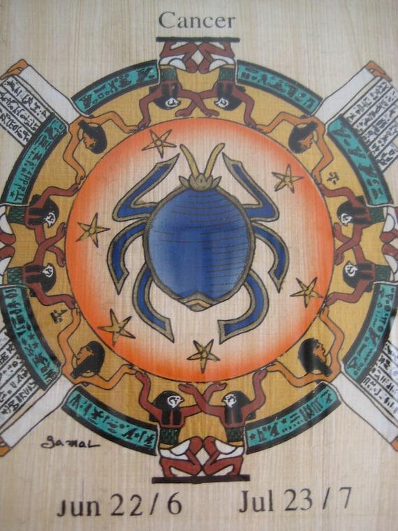 framed vintage Egyptian painting of astrological sign of Cancer (June/July)