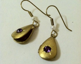 Locket Earrings Purple Rhinestone Teardrop