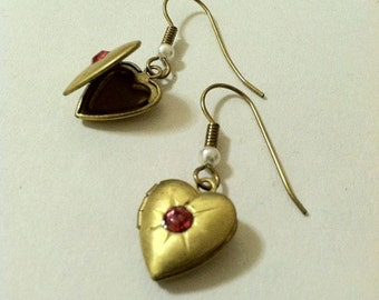 Heart Locket Earrings Vintage Brass with Rose Colored Rhinestones