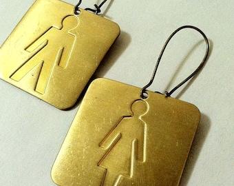 Woman & Man Symbols, Mismatched Stick Figures, Big square Earrings