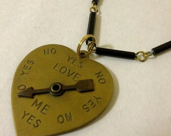 Love Meter Spinning Arrow Heart Necklace