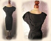 1950s little black dress, pinup wiggle dress, black silk moire