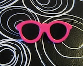 Retro Fashion Pin Miniature Hot Pink Sunglasses Brooch 80s New Wave