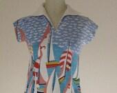 Soft Terrycloth Sailboat Top Summer Beach Shirt 1970s