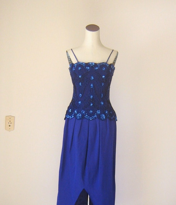 Elegant Purple Formal Evening Gown Blue Sequin Rina di Montella