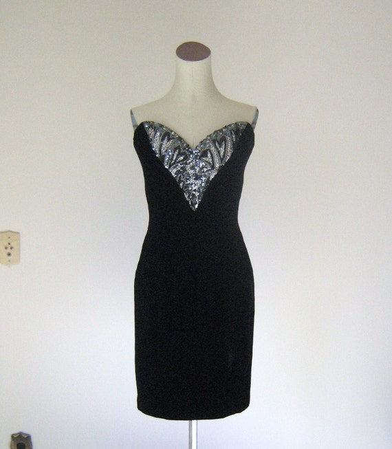 Oleg Cassini Velvet Strapless Sweetheart Evening Dress Silver & Gray Sequin Beaded