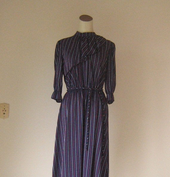 Dark Blue Ruffle Day Dress Silver & Red Stripes