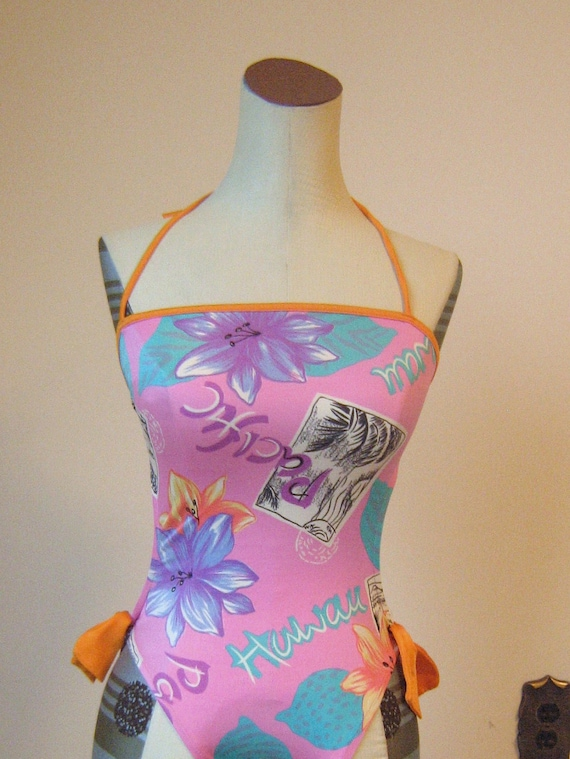 Pacific Postcard Bows Halter Swimsuit Malibu Open Back